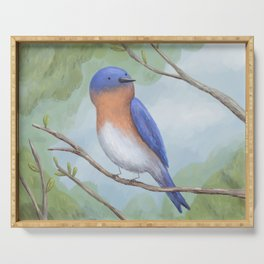 Bluebird on Branch Serving Tray
