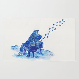 Blue Penguin Playing Blue Grand Piano Rug