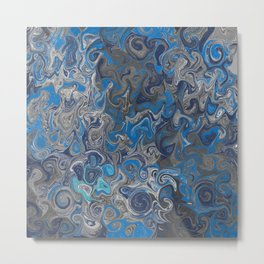 Blue and silver marbled pattern Metal Print