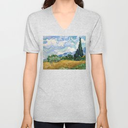 Wheat Field with Cypresses by Vincent van Gogh Unisex V-Neck