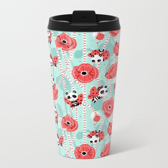 Poppy Pandas Metal Travel Mug