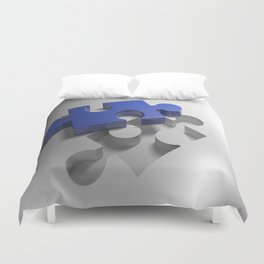 Blue puzzle near its hole Duvet Cover