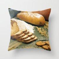 baking Throw Pillows featuring Baking Bread by BravuraMedia