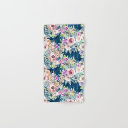 NAVY SO LUSCIOUS Colorful Watercolor Floral Hand & Bath Towel