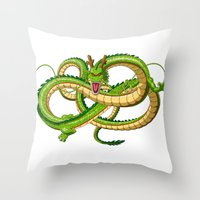 dragon ball Throw Pillows featuring Shenron Dragon ball by OverClocked