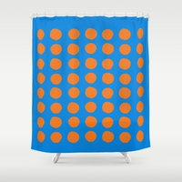 polka Shower Curtains featuring Polka  by Ruth Shaffer Art and Designs