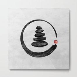 Zen Enso Circle and Zen stones - Watercolor Metal Print