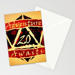 D20 Adventure Awaits Watercolor Way of Blood Stationery Cards