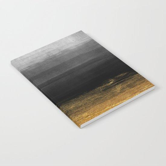 Black and Gold grunge stripes on modern grey beton abstract backround- Stripe-Striped Notebook