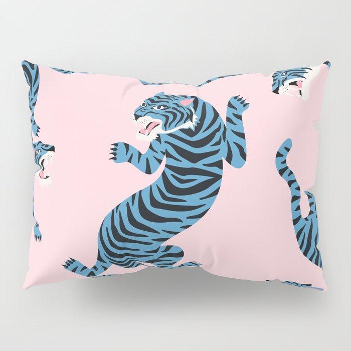 Pastel Pink & Blue Tiger Pattern Pillow Sham