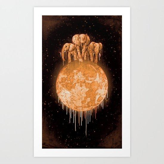 elephants on moon (variant) honey Art Print