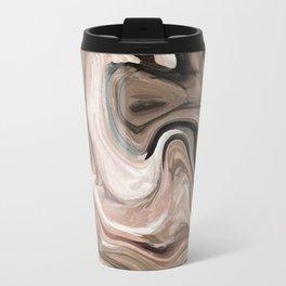 Brown beige watercolor marble Travel Mug