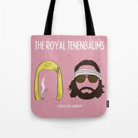 tenenbaums Tote Bags featuring The Royal Tenenbaums by gokce inan