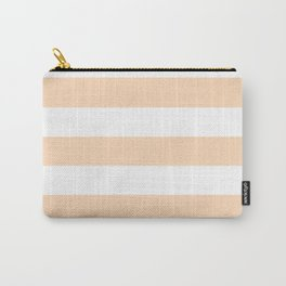 Peach puff - solid color - white stripes pattern Carry-All Pouch
