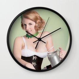 """Luck of the Irish"" - The Playful Pinup - St. Patrick's Day Pinup Girl by Maxwell H. Johnson Wall Clock"