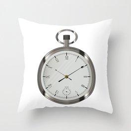 Silver Pocket Watch Throw Pillow