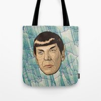 spock Tote Bags featuring Spock by Mimi
