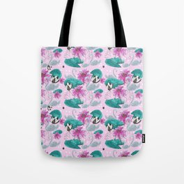 Swans and Water Lilies Pattern Tote Bag