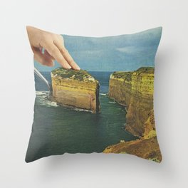 Serving up cake by the seaside Throw Pillow