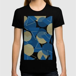 Modern Abstract Geometric Shapes in Triangles and Circles in Classic Blue and Warm Beige T-shirt