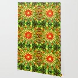 Abstract yellow orange luxury Mandala Wallpaper