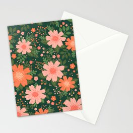 Coral Daisy Stationery Cards