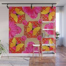 Red Art Design of Butterflies Fuchsia Gerbera Flower  Patterns Art Wall Mural