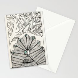 Madhubani Peacock and Tree Stationery Cards