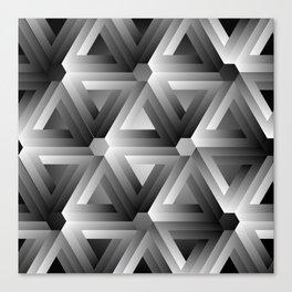 Monochrome penrose triangles Canvas Print