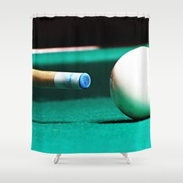 Pool Table-Green Shower Curtain
