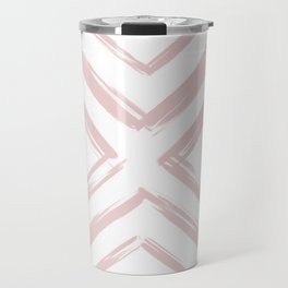 Minimalistic Rose Gold Paint Brush Triangle Diamond Pattern Travel Mug