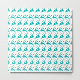 Blue Reindeer Christmas Pattern Metal Print