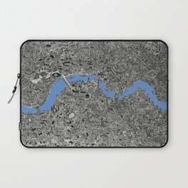 Map of London Thames Drawing Laptop Sleeve
