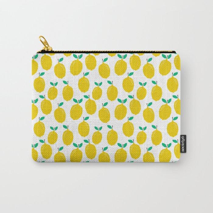 Lemons - Tropical citrus summer fresh modern pattern bright garden vegetables vegan Carry-All Pouch