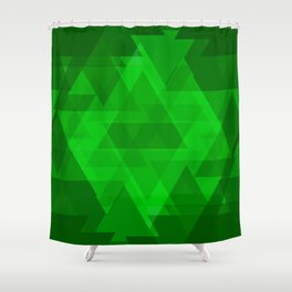Bright green large triangles in the intersection and overlay. Shower Curtain