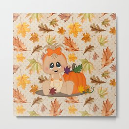 Fall Pumpkin Girl Metal Print