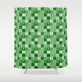 Jungle FriendsShades of Green Cheater Quilt Shower Curtain