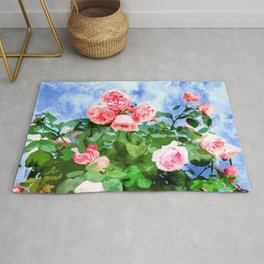 Sweet Rose Garden, Nature Botanical Watercolor Painting, Summer Floral Plants Meadow Rug