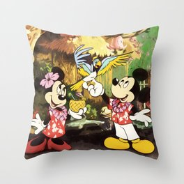 Mickey & Minnie Mouse In The Tiki Room Throw Pillow