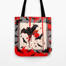 FLYING VAMPIRE BLACK BATS & HALLOWEEN BLOODY ART Tote Bag