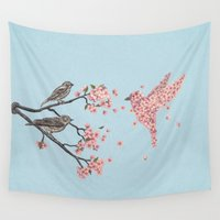 wesley bird Wall Tapestries featuring Blossom Bird  by Terry Fan
