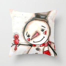 Red  Bird and Snowman - Christmas Holiday Art Throw Pillow