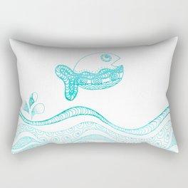 Doodle fish jumping out of the water Maritime Rectangular Pillow