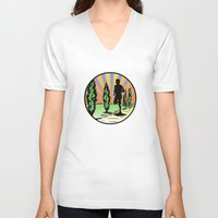 running V-neck T-shirts featuring Running by Paul Simms