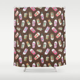 Coffee Crazy Toss in Expresso Brown Shower Curtain