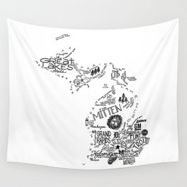 Michigan - Hand Lettered Map Wall Tapestry