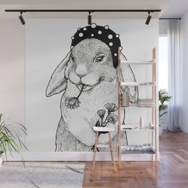 Cute rabbit in hair band with some flowers Wall Mural
