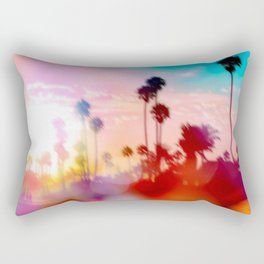 palm tree with sunset sky and light bokeh abstract background Rectangular Pillow