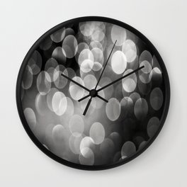 Bokeh Light In Black And White #decor #society6 Wall Clock
