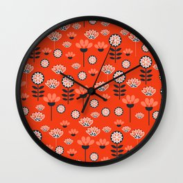 Whimsy wildflowers in red Wall Clock